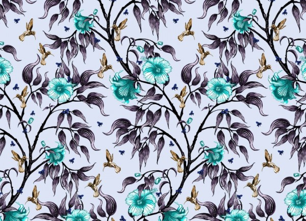 tamara schneider - birds in the flowers (aqua)