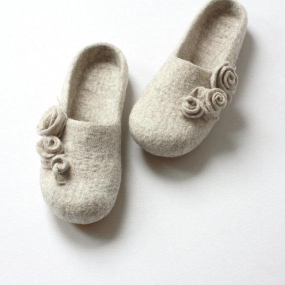 agnesfelt - natural beige wool slippers