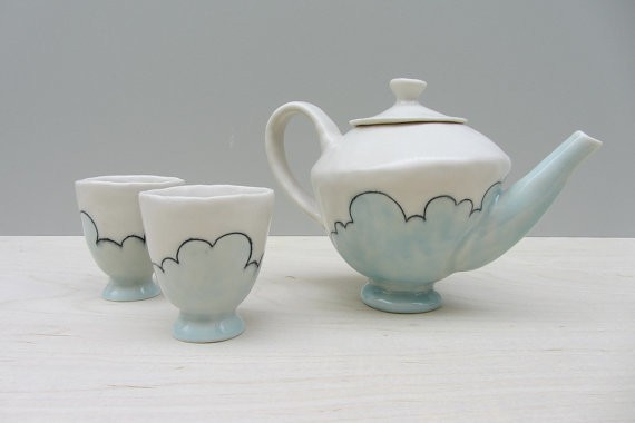 elizabeth benotti - cloudy day ceramic teapot and  teacups