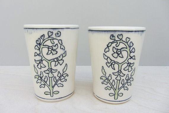 elizabeth benotti - porcelain floral tumblers