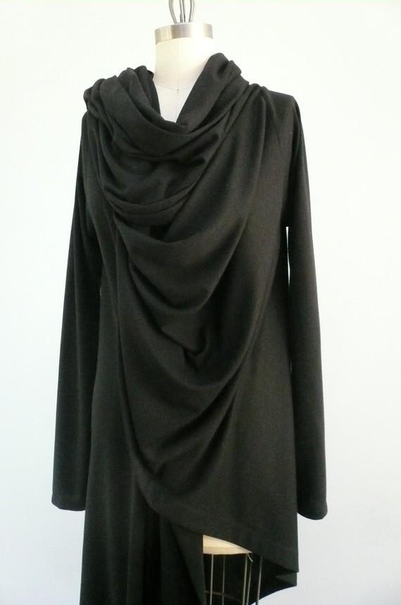 ddreamcloset - long black wrap - cotton jersey