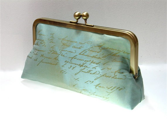 blackcactuslondon - blue silk clutch with script