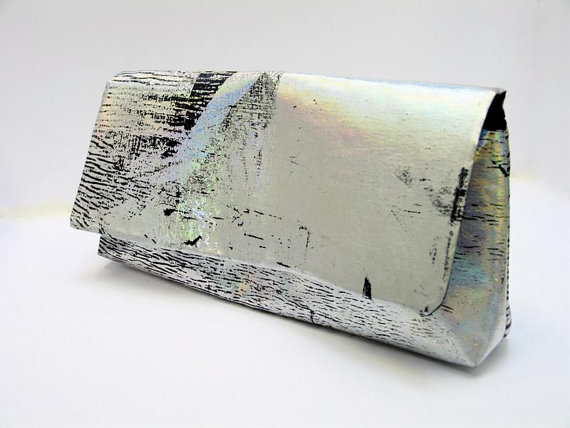 blackcactuslondon - holographic textures envelope clutch