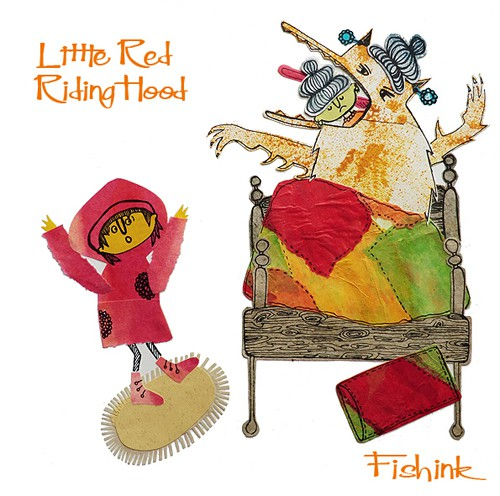 Fishink - Little Red Riding Hood - collage illustration