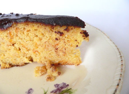 mandarin almond cake with chocolate butter frosting