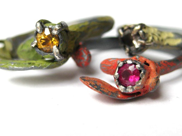 natalia mp - frond rings - silver, paint, gemstones