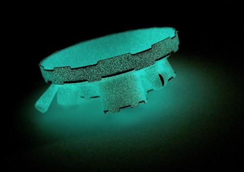 simon cottrell - brooch - phosphorescent powder coat over monel