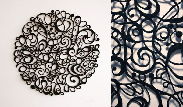 meredith woolnough - black lace circle - 2010