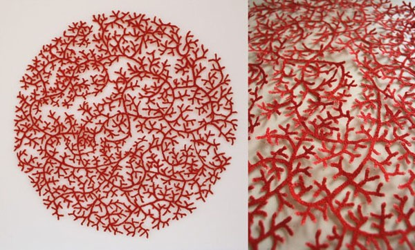 meredith woolnough - cluster coral circle - ocean series - 2012
