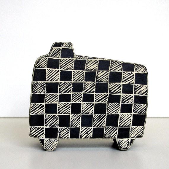 susan hanft - black and white check wabi sabi vase