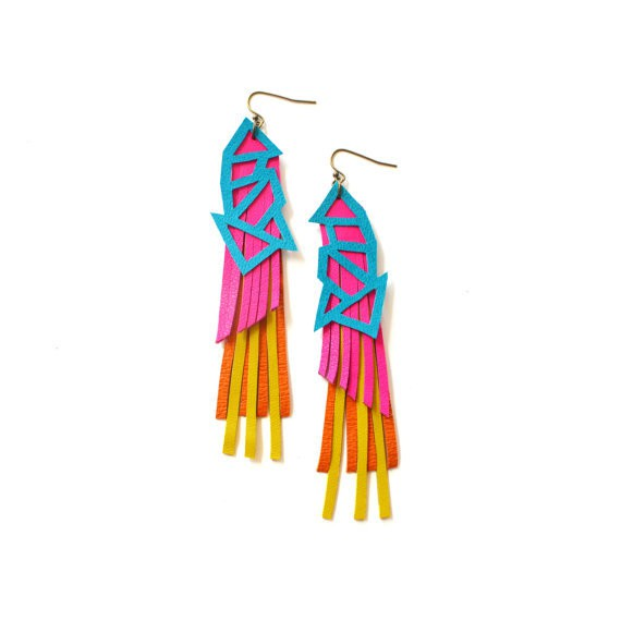 boo and boo factory - neon geometric earrings