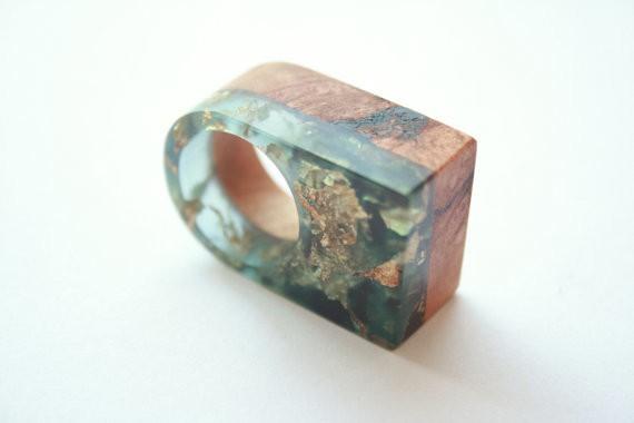 britta boeckmann - ring wood resin gold flake