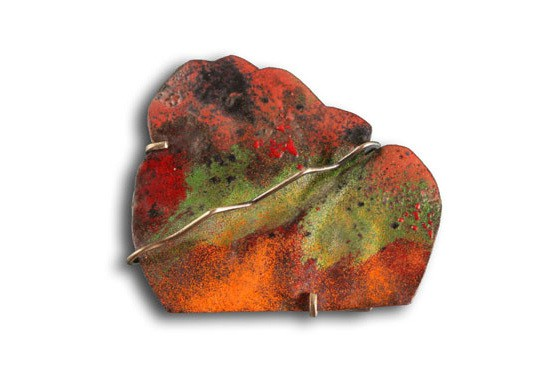 montserrat lacomba - a forest for m - brooch - enamelled and oxidised copper