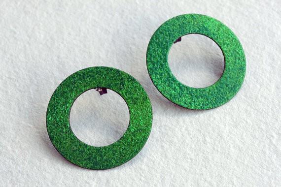 montserrat lacomba - green circle earrings - silver copper enamel
