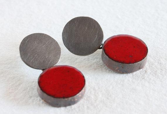 montserrat lacomba - impossible earrings no1 red - copper enamel silver