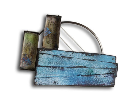 montserrat lacomba - mediterranean - brooch - nickel silver enamelled and oxidised copper