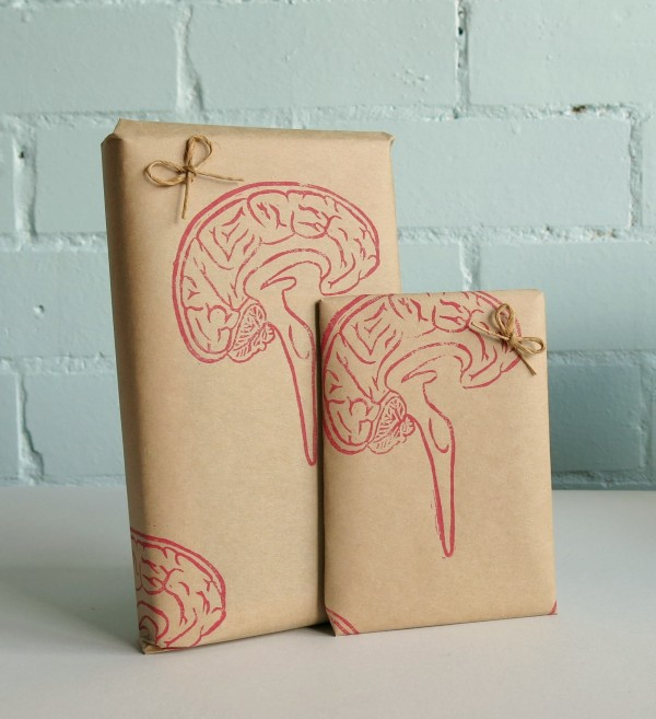 your organ grinder - brain stamp wrapping paper