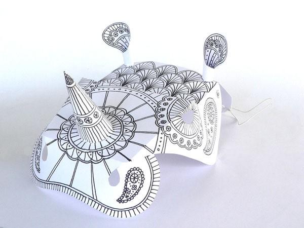 rhinoceros mask with mehndi -small