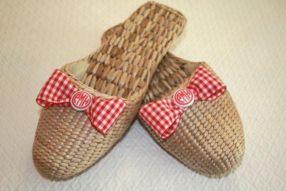 monogrammed straw slippers - goodsportdesigns.etsy.com