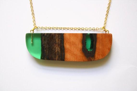 britta boeckmann - wide green pendant with redgum