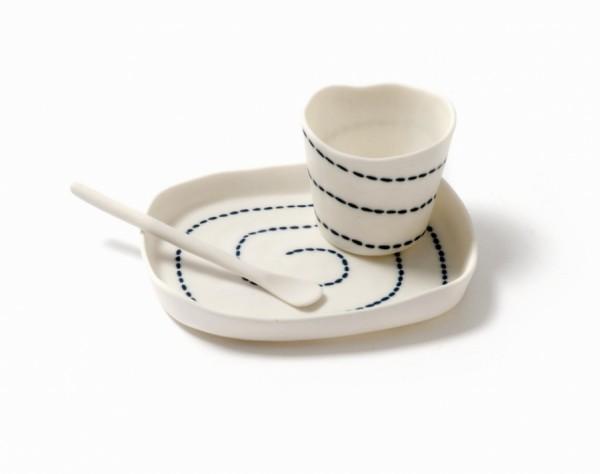 sandra bowkett - stitched - cup plate spoon