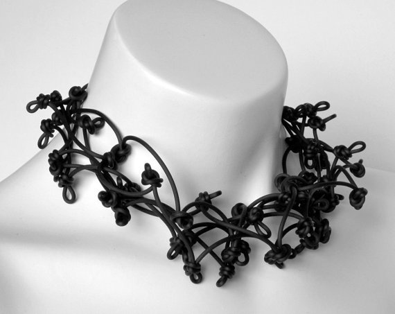 frank ideas - black rubber knotted choker necklace