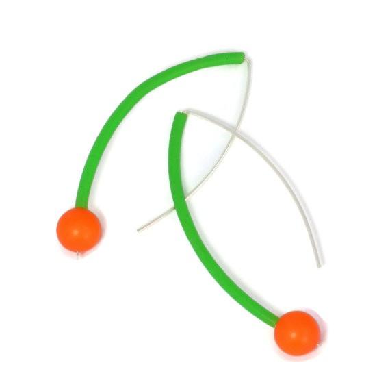 frank ideas - neon green and orange earrings