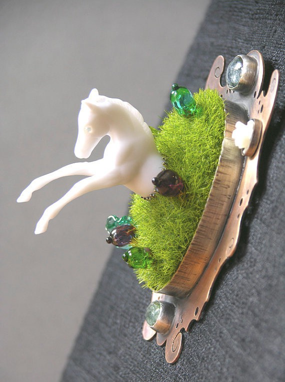 doll disaster design - ghost horse diorama brooch