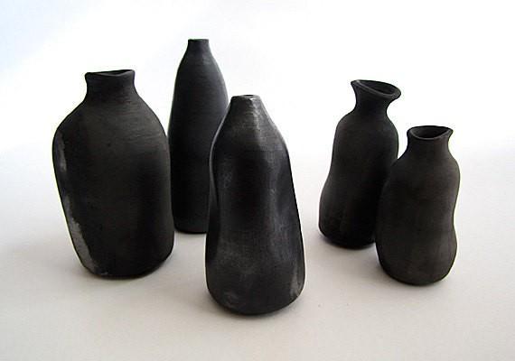 sas and fez - black smoke fired saga ornamental bottles