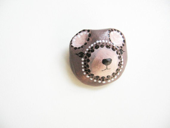 selenemini - tribal bear brooch