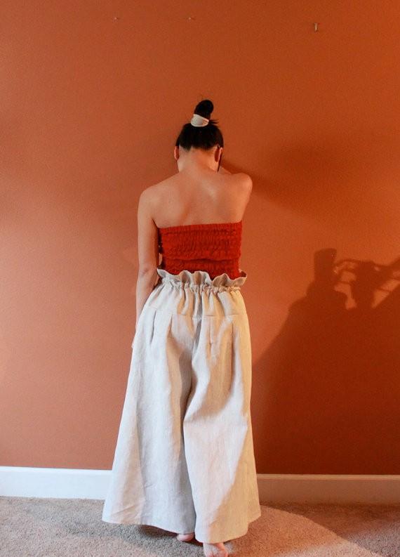anny schoo - linen drawstring wide-leg pants