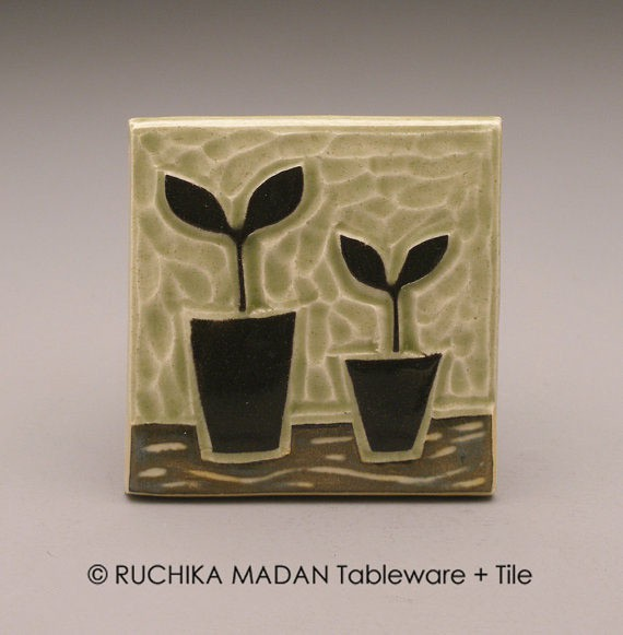 ruchika - tile - two potted plants