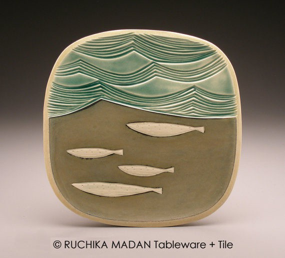 ruchika - fish and waves plate