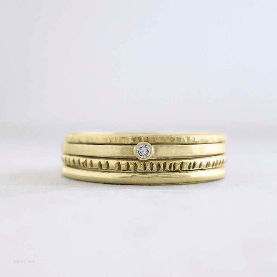 meanderworks - diamond stacking ring set -14k gold