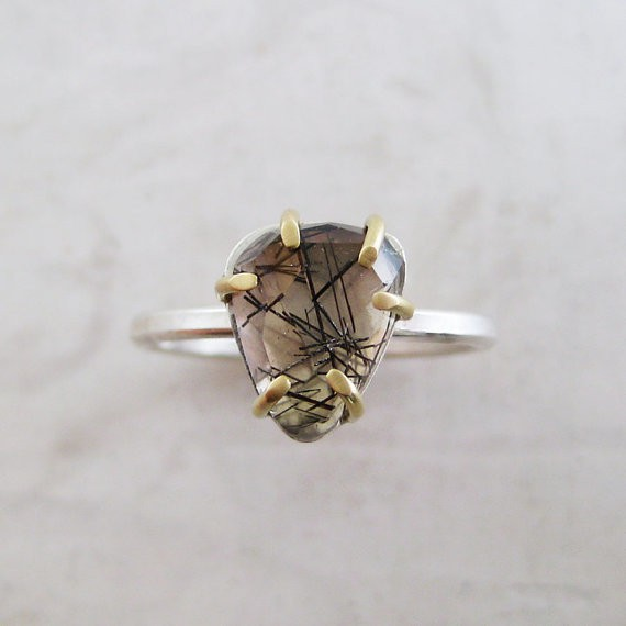 meanderworks - tourmalinated quartz ring