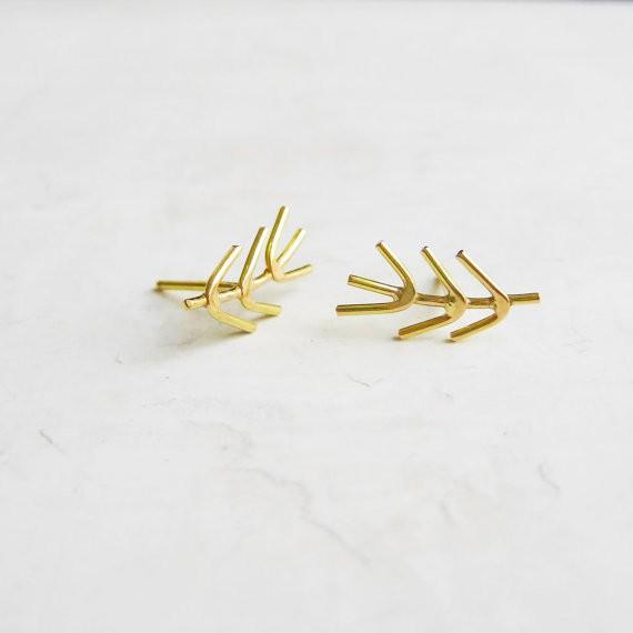 meanderworks - twig earrings - 14K gold