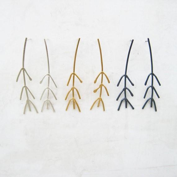 meanderworks - twig post earrings