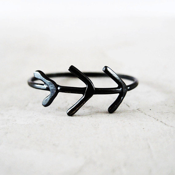 meanderworks - twig ring - patinated silver