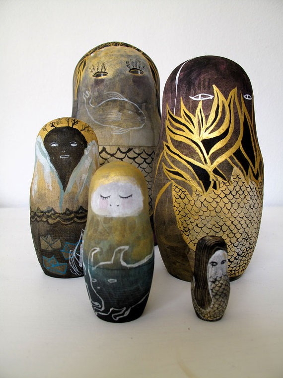 ben conservato - shallows and deep sea - 5 piece nesting doll set