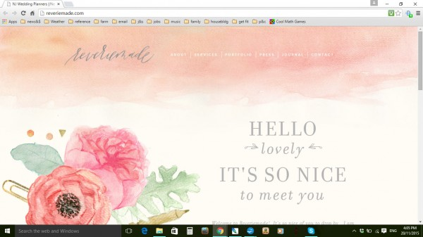 watercolour themed home page for ReverieMade.com
