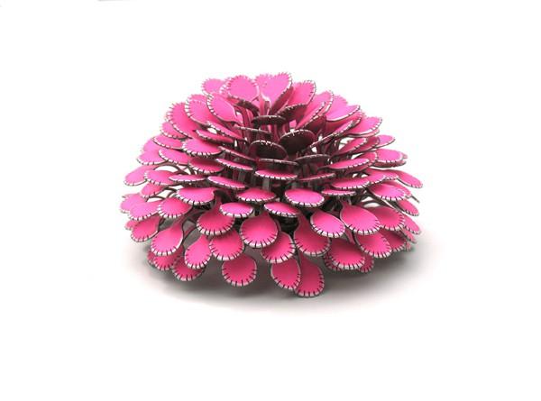 mirjam hiller - bovenas - pink - brooch - powder coated steel