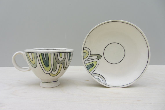 elizabeth benotti - dainty teacup with blue and green drips