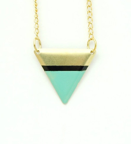 goldandsilverlining - handpainted brass pendant, goldplated chain