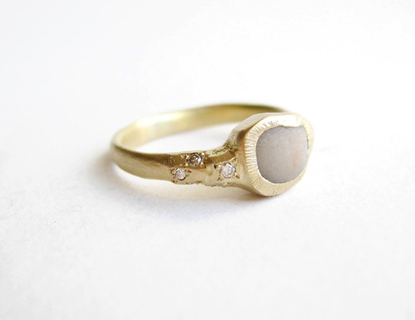 natalia mp - special commission ring- 18ct gold, diamonds, pebble chip