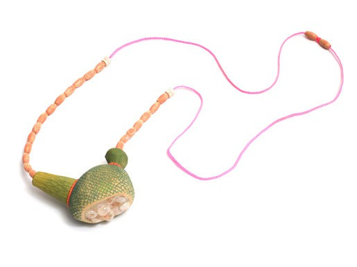 natalia mp - strange fruit - necklace - timber, resin, glass, bone, paint (via Pieces of Eight gallery)