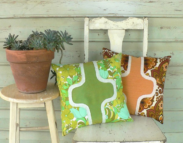caramel & lime - pair of courreges-inspired cushions