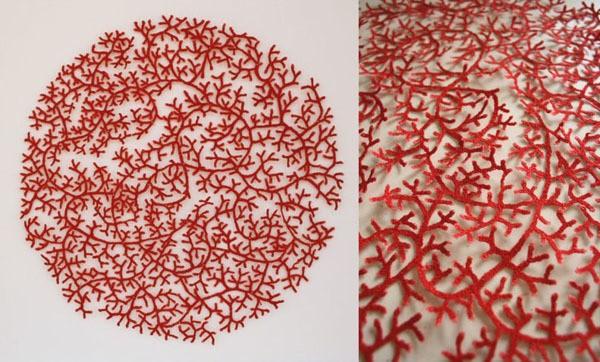 meredith woolnough - cluster coral circle - ocean series - 2012
