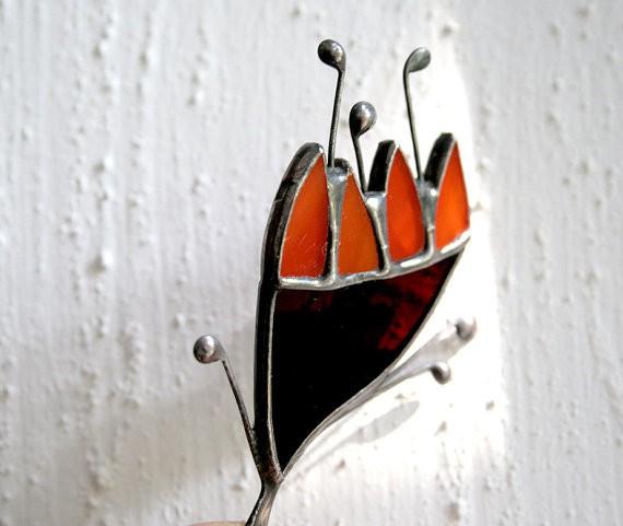 artkvarta - orange and black flower brooch