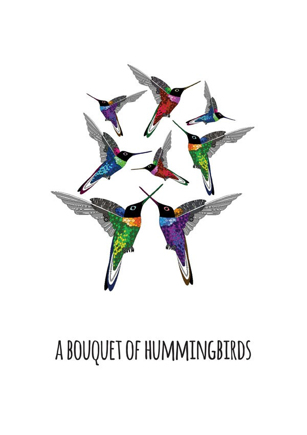 jen skelly - bouquet of hummingbirds