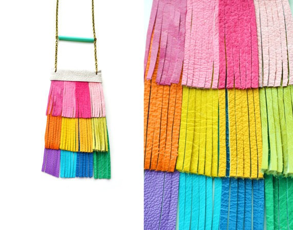 booandboofactory - rainbow fringe leather bib necklace